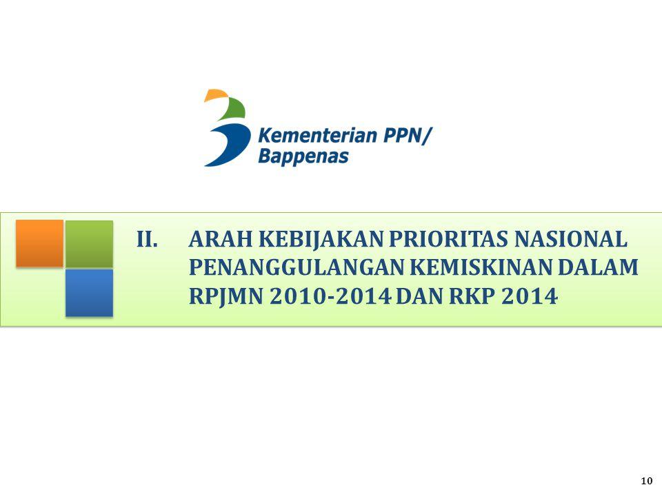 II. Arah Kebijakan Prioritas Nasional Penanggulangan Kemiskinan dalam RPJMN 2010-2014 DAN RKP 2014