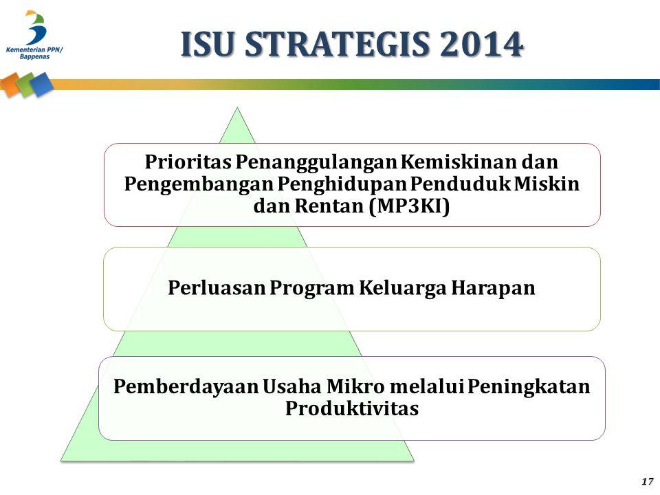 ISU STRATEGIS 2014 Prioritas Penanggulangan Kemiskinan dan Pengembangan Penghidupan Penduduk Miskin dan Rentan (MP3KI)