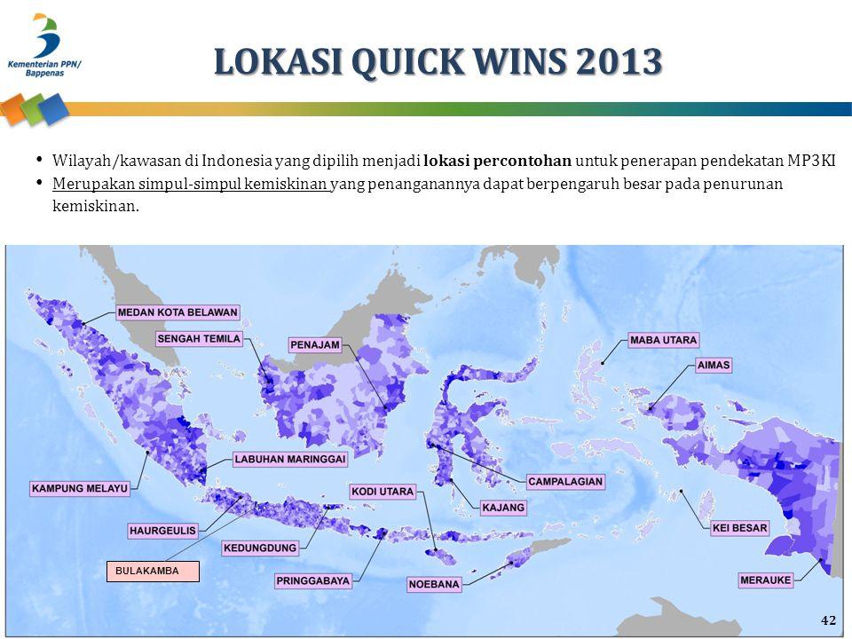 LOKASI QUICK WINS 2013 Wilayah/kawasan di Indonesia yang dipilih menjadi lokasi percontohan untuk penerapan pendekatan MP3KI.