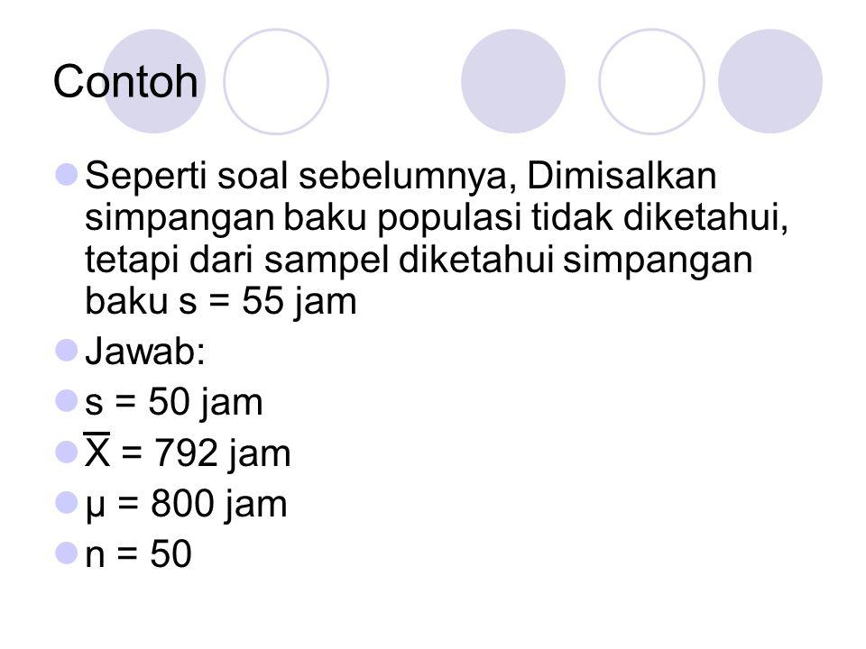 Contoh Seperti soal sebelumnya, Dimisalkan simpangan baku populasi tidak diketahui, tetapi dari sampel diketahui simpangan baku s = 55 jam.
