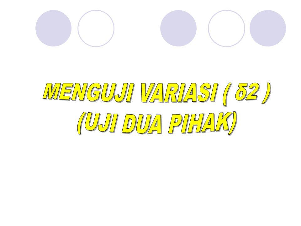 MENGUJI VARIASI ( δ2 ) (UJI DUA PIHAK) BY YANTO