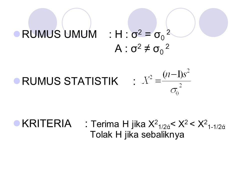 RUMUS UMUM : H : σ2 = σ0 2 A : σ2 ≠ σ0 2.
