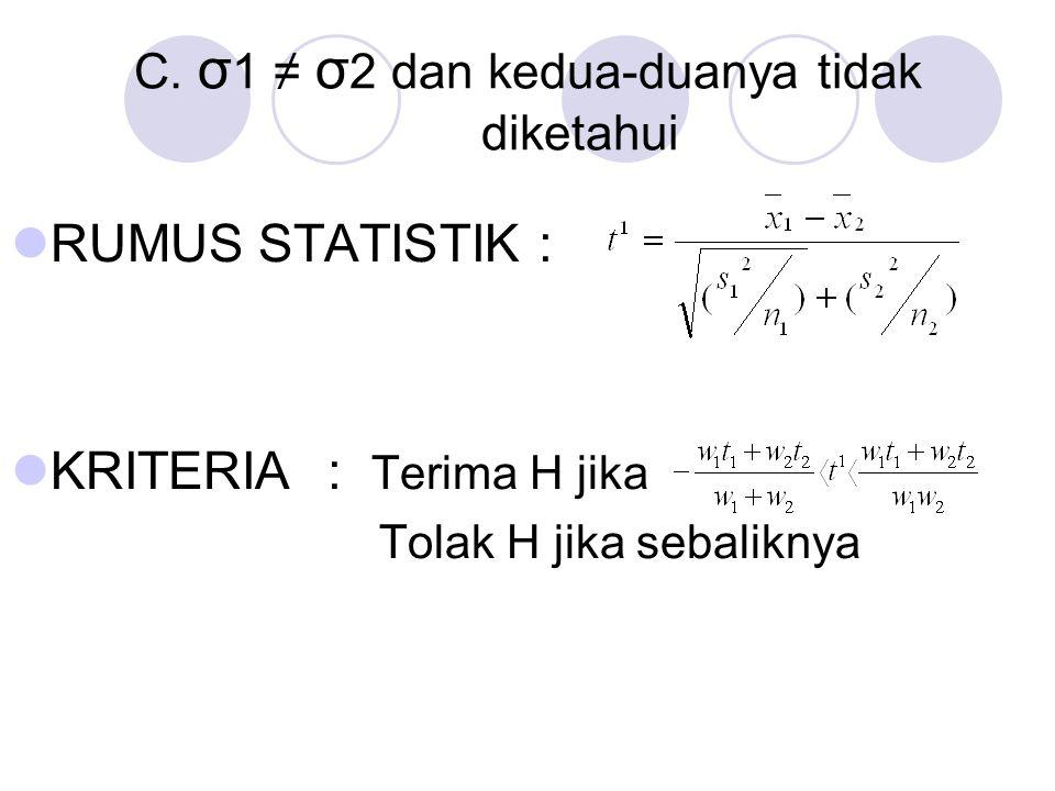 C. σ1 ≠ σ2 dan kedua-duanya tidak diketahui
