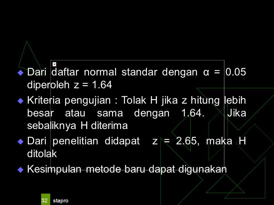 65 . 2. 20. 1.51/ 16. 9. = z. Dari daftar normal standar dengan α = 0.05 diperoleh z = 1.64.