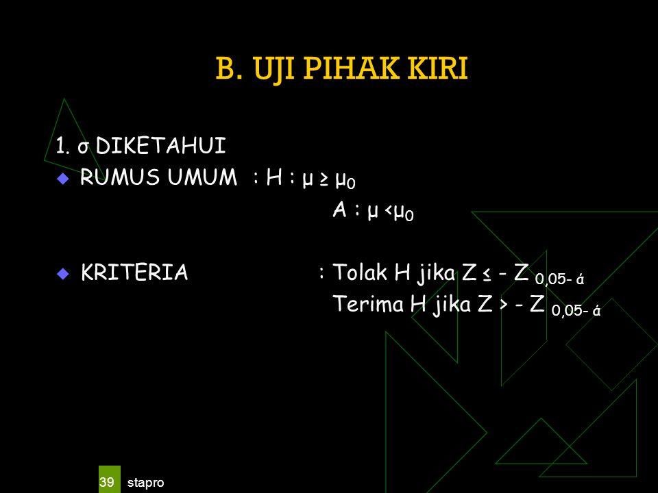 B. UJI PIHAK KIRI 1. σ DIKETAHUI RUMUS UMUM : H : μ ≥ μ0 A : μ <μ0