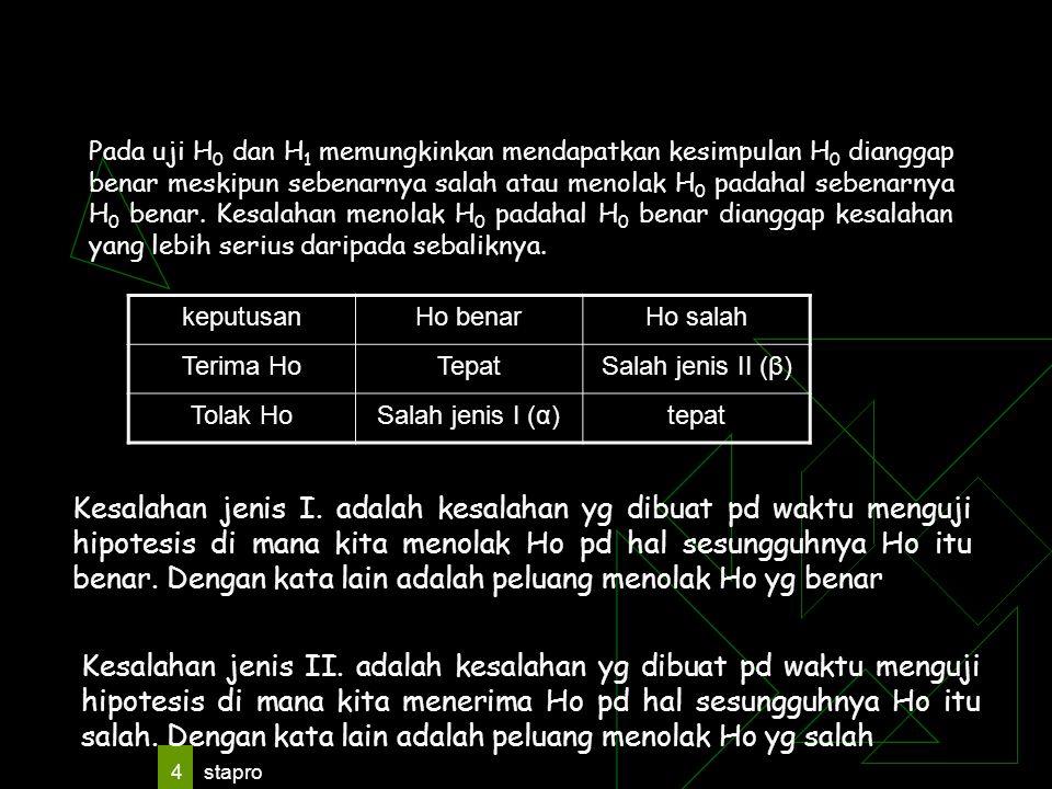 Pada uji H0 dan H1 memungkinkan mendapatkan kesimpulan H0 dianggap benar meskipun sebenarnya salah atau menolak H0 padahal sebenarnya H0 benar. Kesalahan menolak H0 padahal H0 benar dianggap kesalahan yang lebih serius daripada sebaliknya.