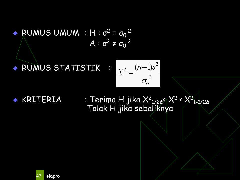 RUMUS UMUM : H : σ2 = σ0 2 A : σ2 ≠ σ0 2 RUMUS STATISTIK :