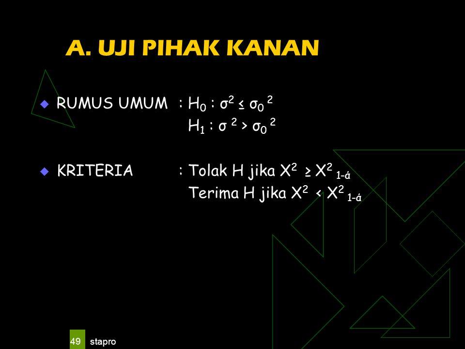 A. UJI PIHAK KANAN RUMUS UMUM : H0 : σ2 ≤ σ0 2 H1 : σ 2 > σ0 2