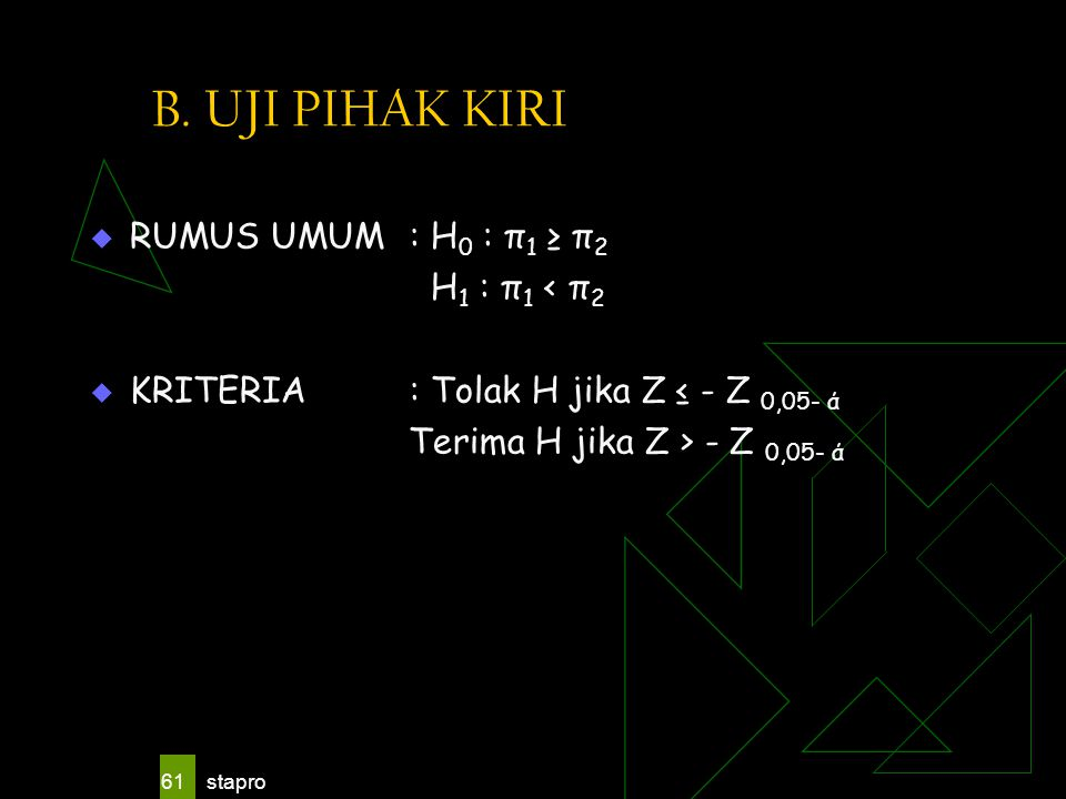 B. UJI PIHAK KIRI RUMUS UMUM : H0 : π1 ≥ π2 H1 : π1 < π2