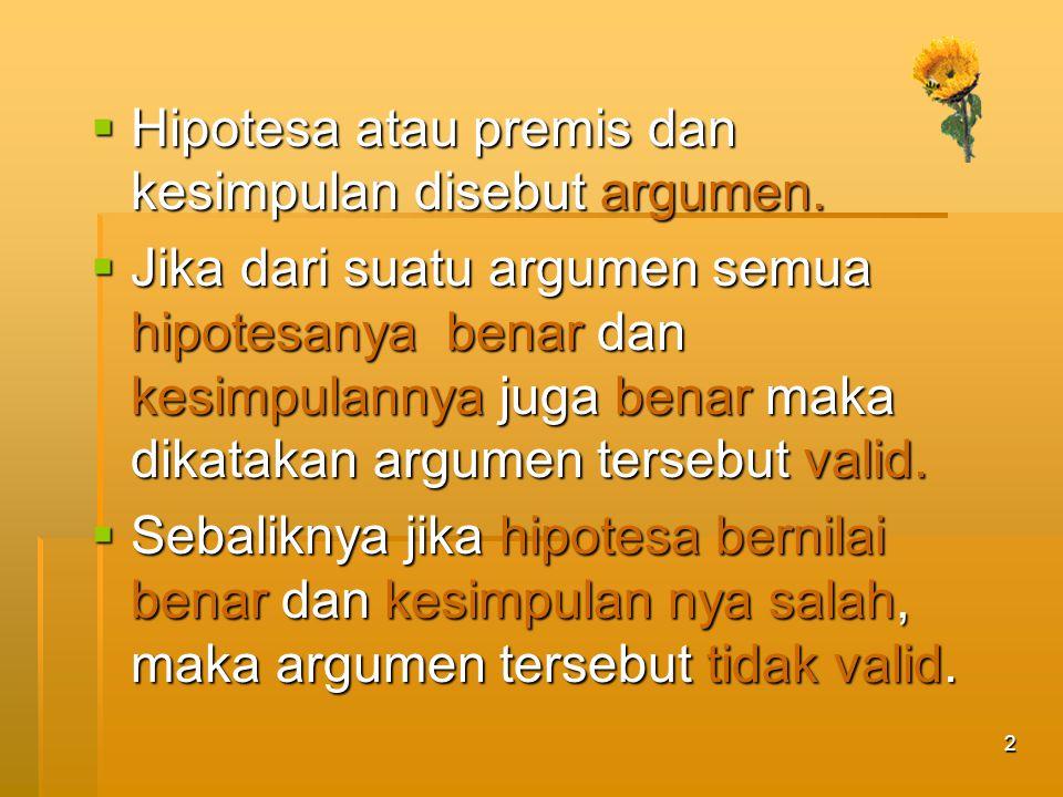 Hipotesa atau premis dan kesimpulan disebut argumen.