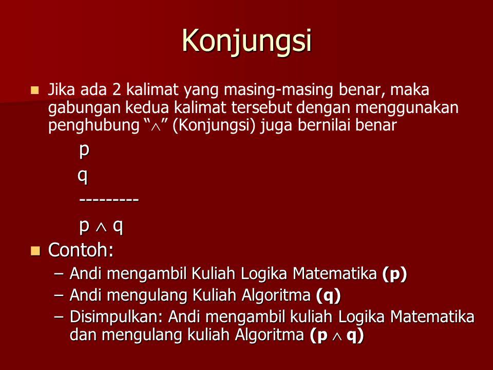 Konjungsi p q --------- p  q Contoh: