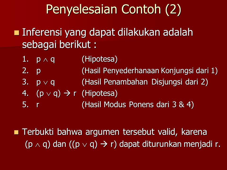 Penyelesaian Contoh (2)