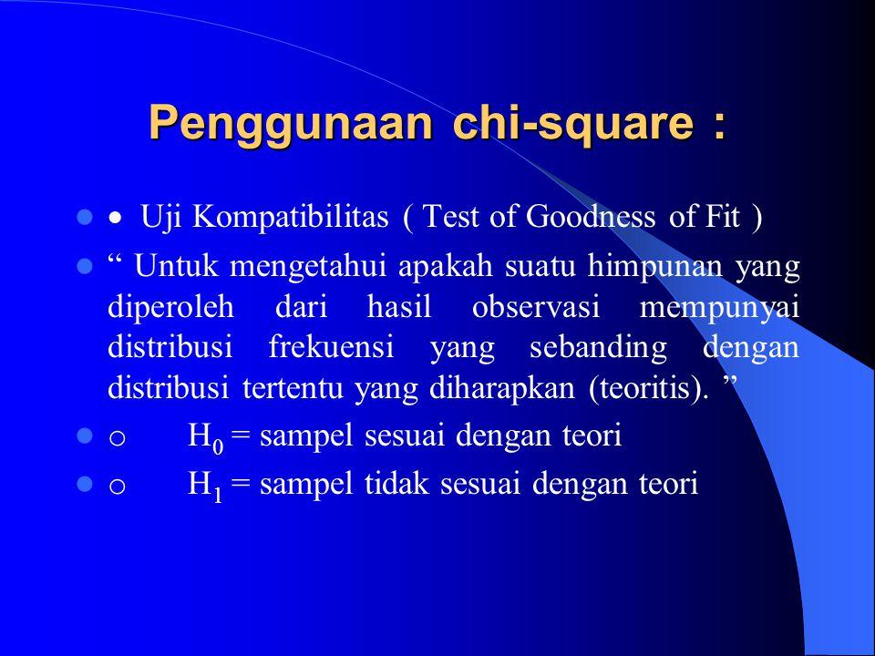 Penggunaan chi-square :