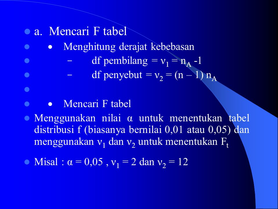 a. Mencari F tabel · Menghitung derajat kebebasan