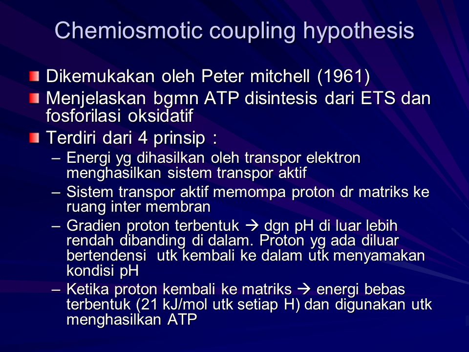 Chemiosmotic coupling hypothesis