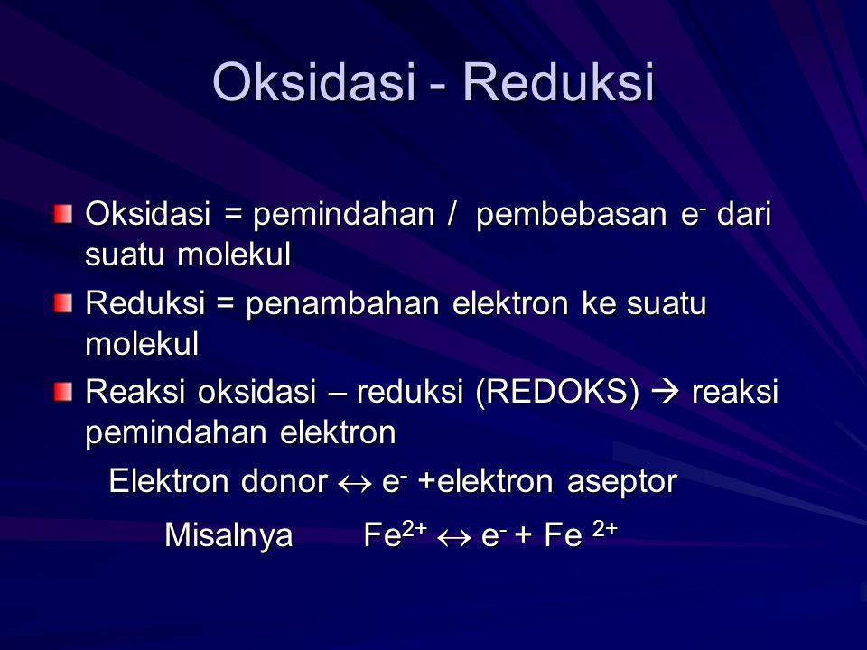 Oksidasi - Reduksi Oksidasi = pemindahan / pembebasan e- dari suatu molekul. Reduksi = penambahan elektron ke suatu molekul.