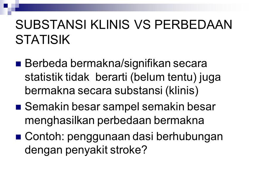 SUBSTANSI KLINIS VS PERBEDAAN STATISIK