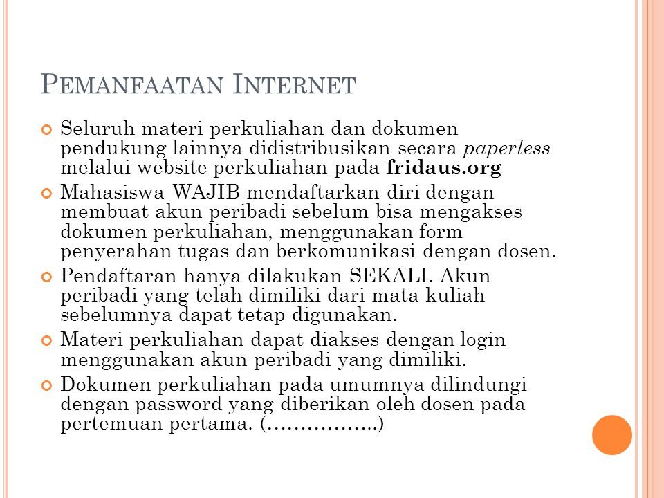 Pemanfaatan Internet