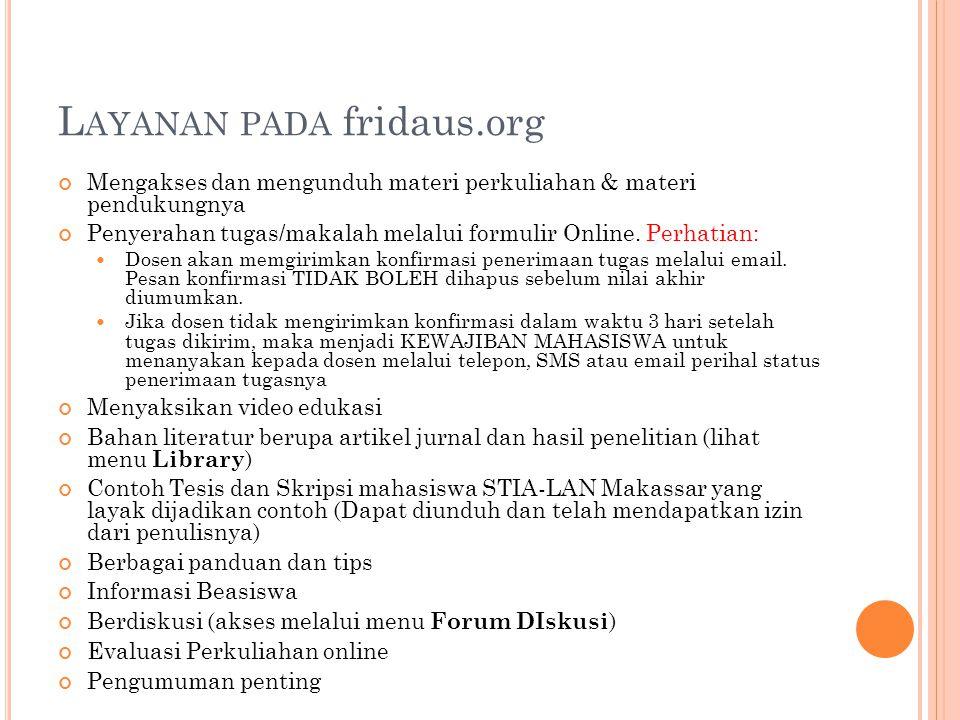Layanan pada fridaus.org
