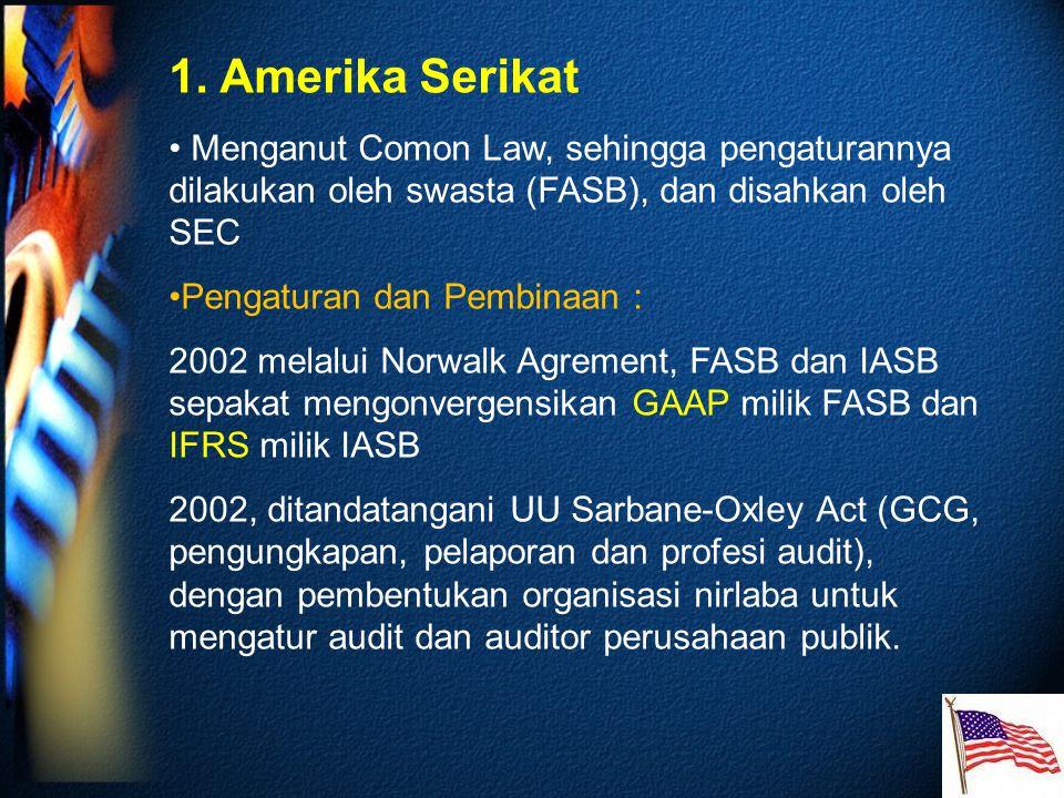 1. Amerika Serikat Menganut Comon Law, sehingga pengaturannya dilakukan oleh swasta (FASB), dan disahkan oleh SEC.