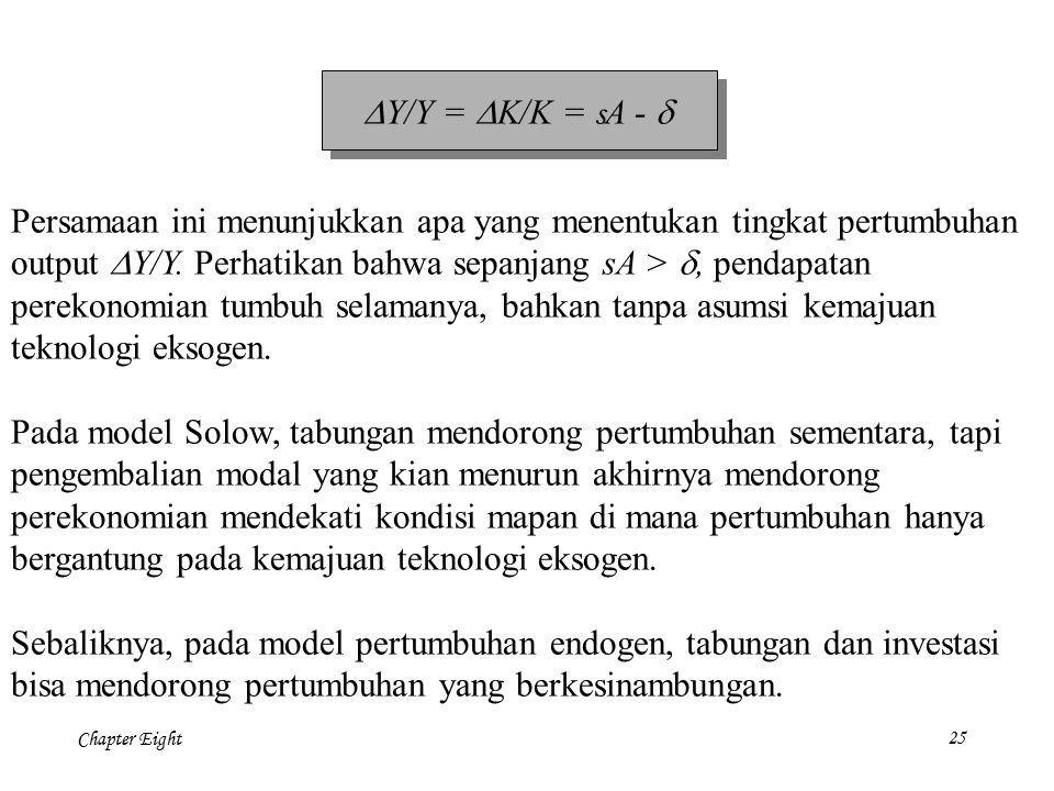 DY/Y = DK/K = sA - d Persamaan ini menunjukkan apa yang menentukan tingkat pertumbuhan. output DY/Y. Perhatikan bahwa sepanjang sA > d, pendapatan.