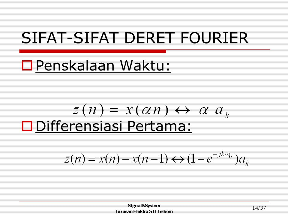 SIFAT-SIFAT DERET FOURIER