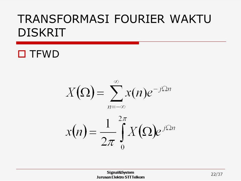TRANSFORMASI FOURIER WAKTU DISKRIT
