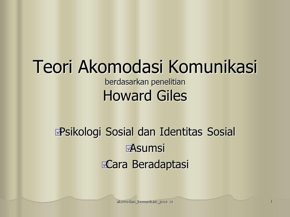Teori Akomodasi Komunikasi berdasarkan penelitian Howard Giles