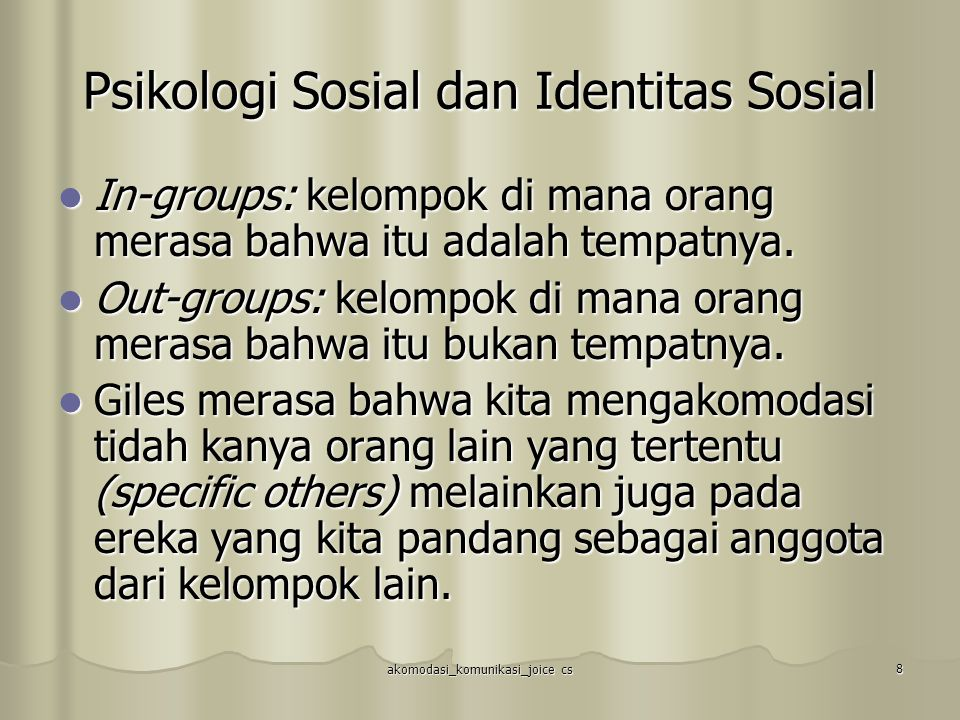 Psikologi Sosial dan Identitas Sosial