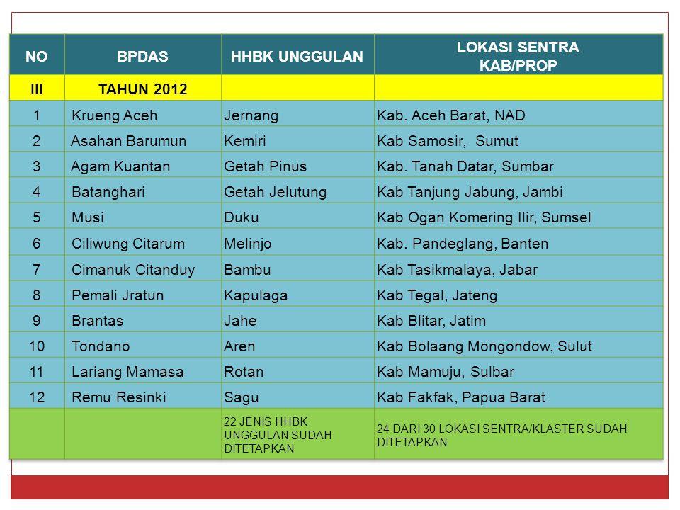 NO BPDAS HHBK UNGGULAN LOKASI SENTRA KAB/PROP III TAHUN 2012