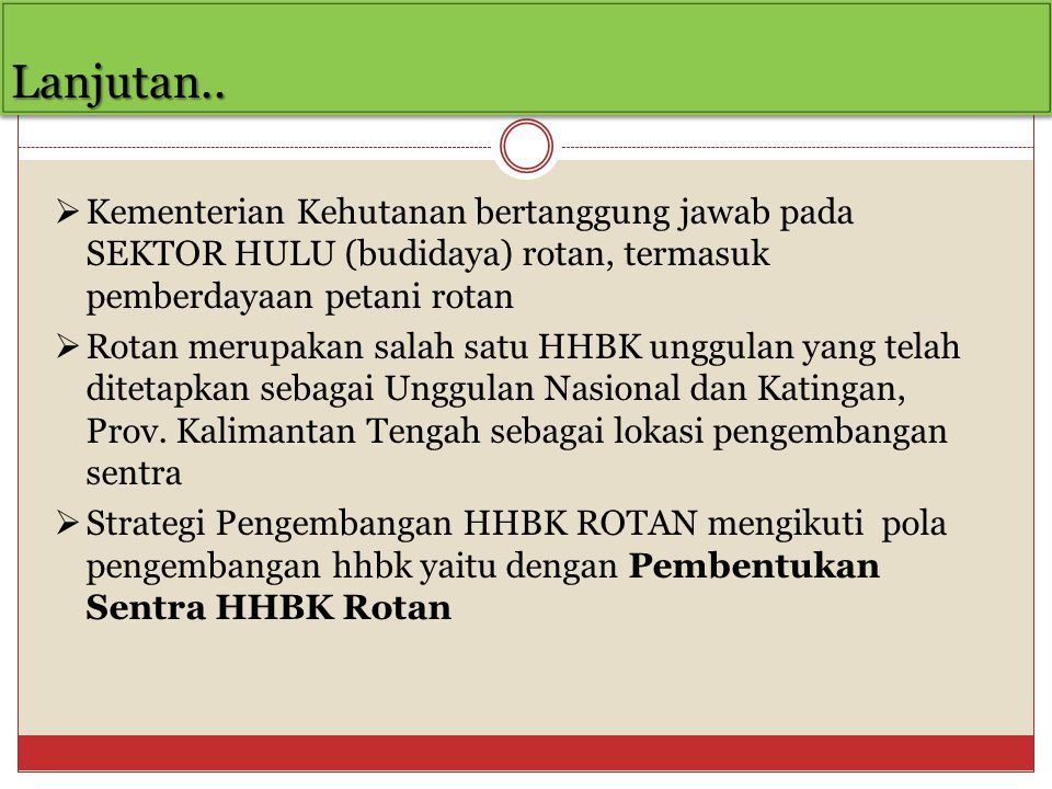Lanjutan.. Kementerian Kehutanan bertanggung jawab pada SEKTOR HULU (budidaya) rotan, termasuk pemberdayaan petani rotan.