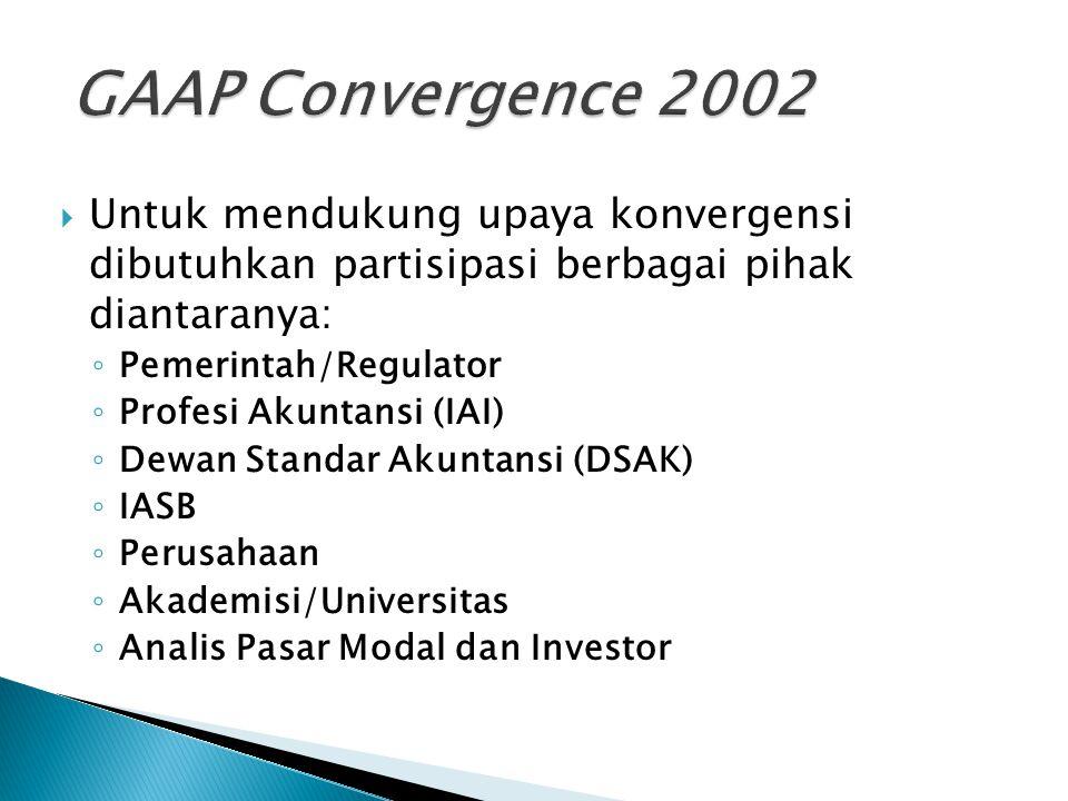 GAAP Convergence 2002 Untuk mendukung upaya konvergensi dibutuhkan partisipasi berbagai pihak diantaranya: