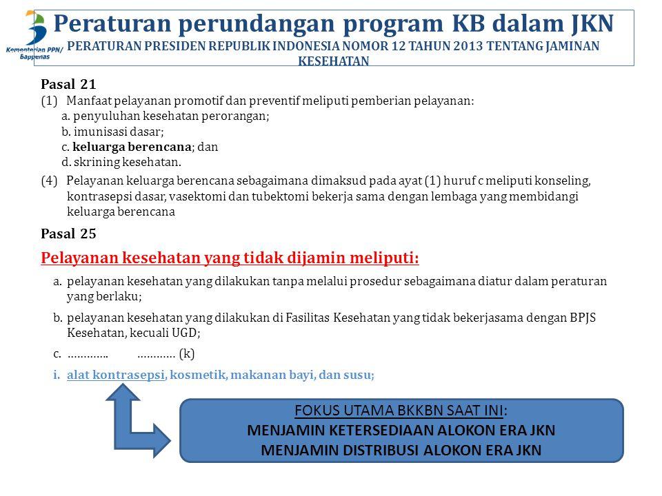 Peraturan perundangan program KB dalam JKN PERATURAN PRESIDEN REPUBLIK INDONESIA NOMOR 12 TAHUN 2013 TENTANG JAMINAN KESEHATAN