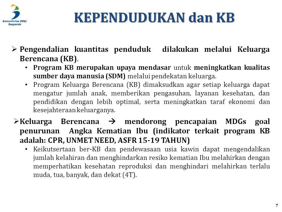 KEPENDUDUKAN dan KB Pengendalian kuantitas penduduk dilakukan melalui Keluarga Berencana (KB).