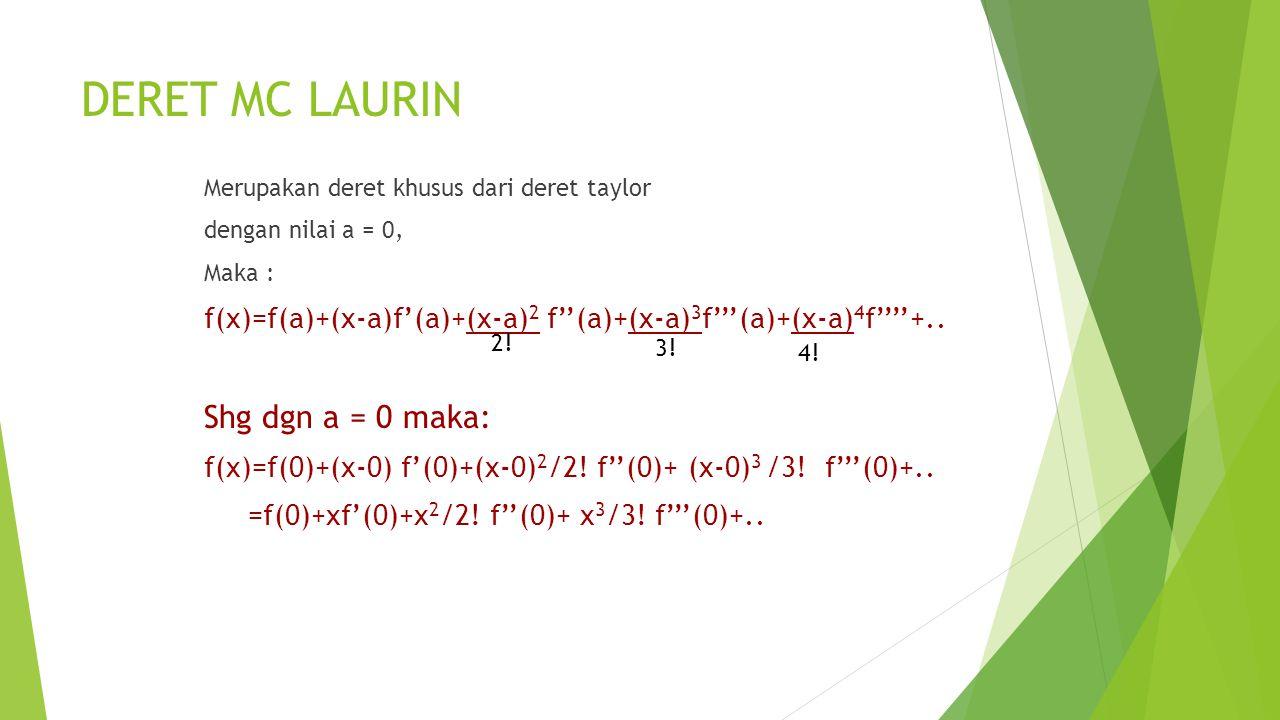 DERET MC LAURIN Shg dgn a = 0 maka: