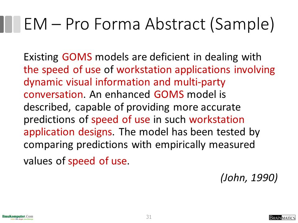 EM – Pro Forma Abstract (Sample)