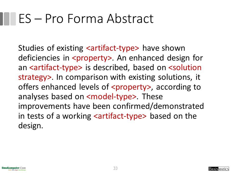 ES – Pro Forma Abstract