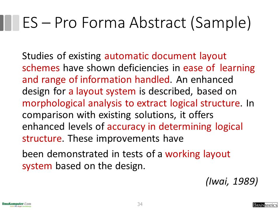 ES – Pro Forma Abstract (Sample)