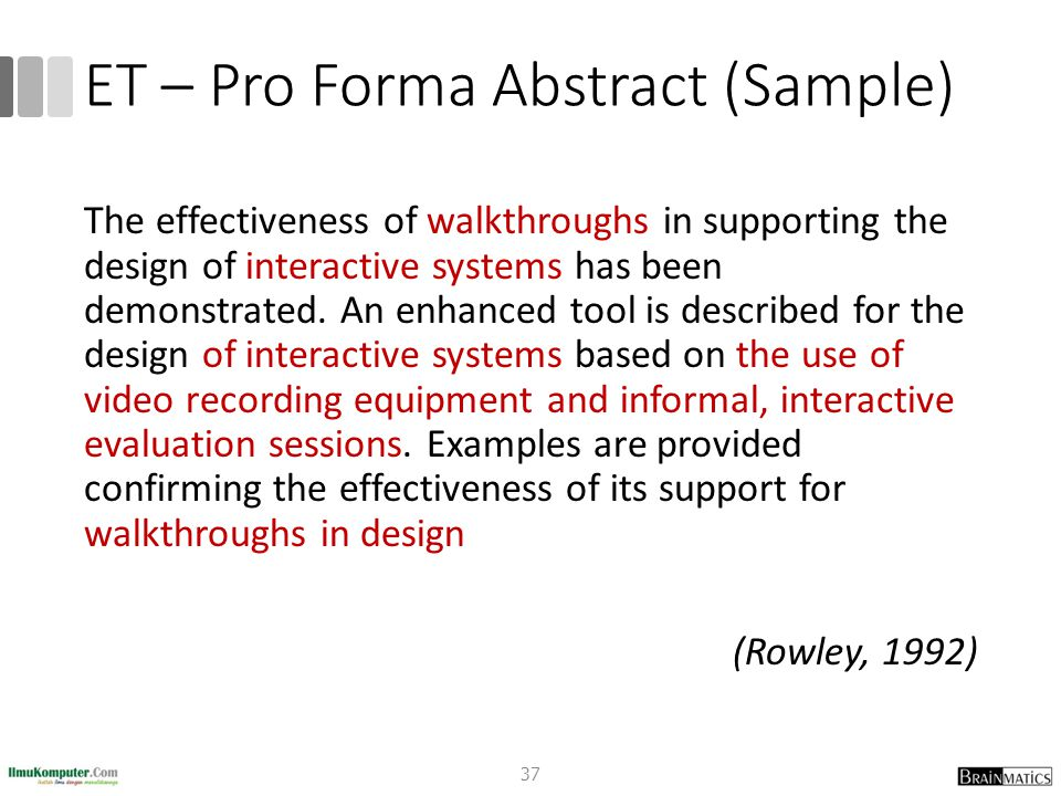 ET – Pro Forma Abstract (Sample)