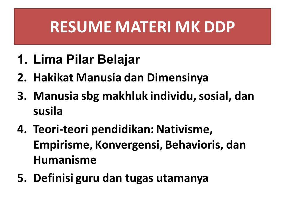 RESUME MATERI MK DDP Lima Pilar Belajar Hakikat Manusia dan Dimensinya