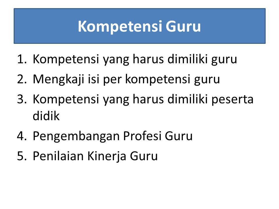 Kompetensi Guru Kompetensi yang harus dimiliki guru