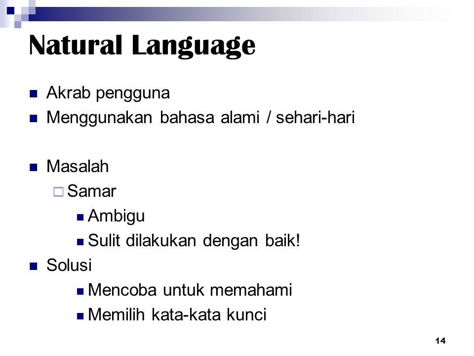 Natural Language Akrab pengguna Menggunakan bahasa alami / sehari-hari