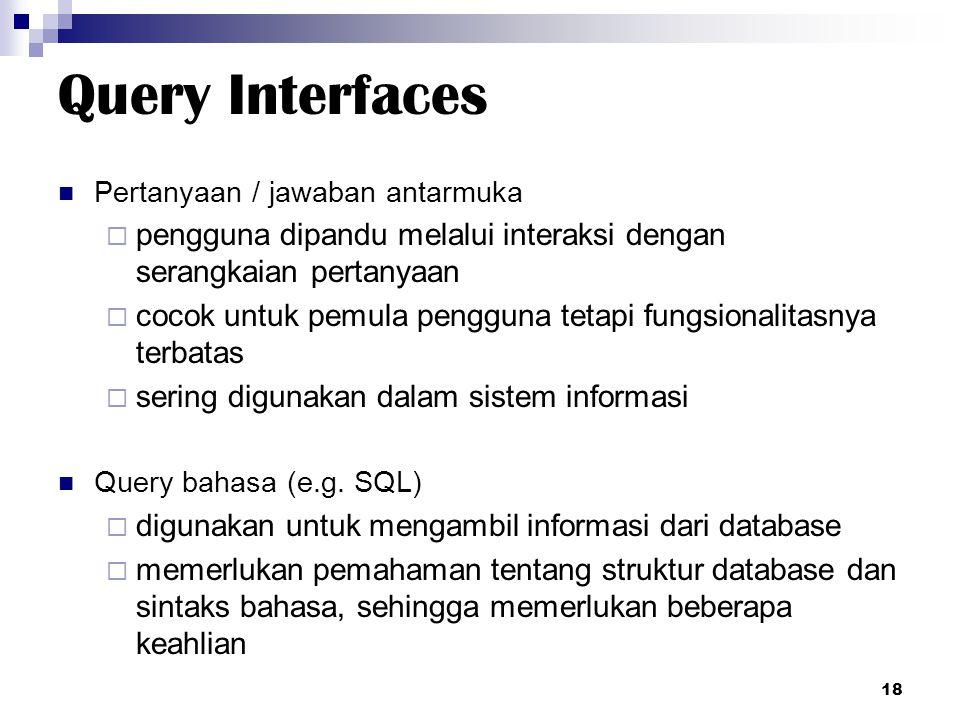 Query Interfaces Pertanyaan / jawaban antarmuka. pengguna dipandu melalui interaksi dengan serangkaian pertanyaan.