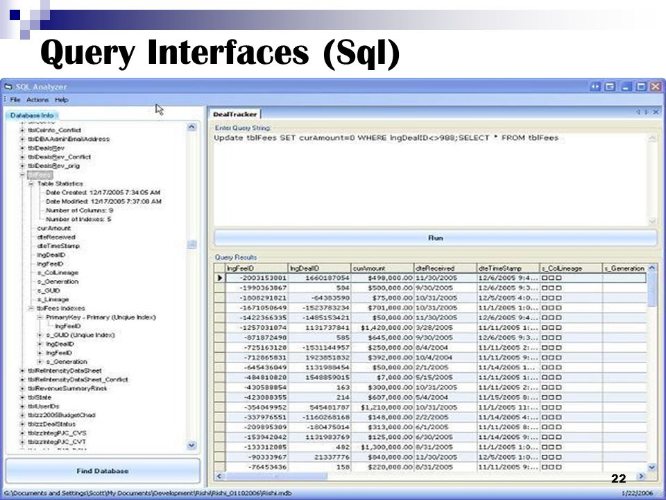Query Interfaces (Sql)
