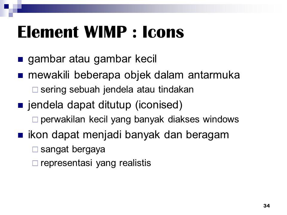 Element WIMP : Icons gambar atau gambar kecil