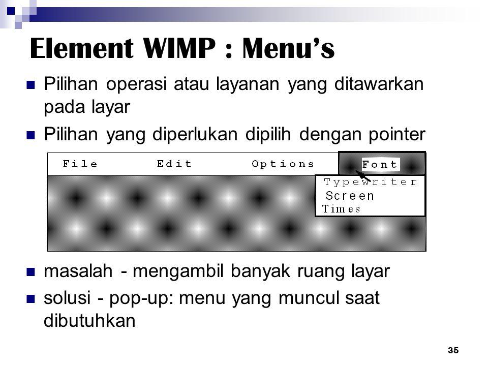 Element WIMP : Menu's Pilihan operasi atau layanan yang ditawarkan pada layar. Pilihan yang diperlukan dipilih dengan pointer.