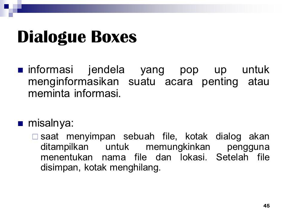 Dialogue Boxes informasi jendela yang pop up untuk menginformasikan suatu acara penting atau meminta informasi.