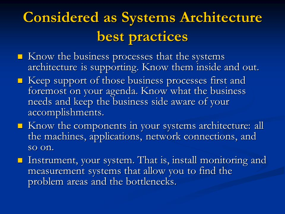 Considered as Systems Architecture best practices