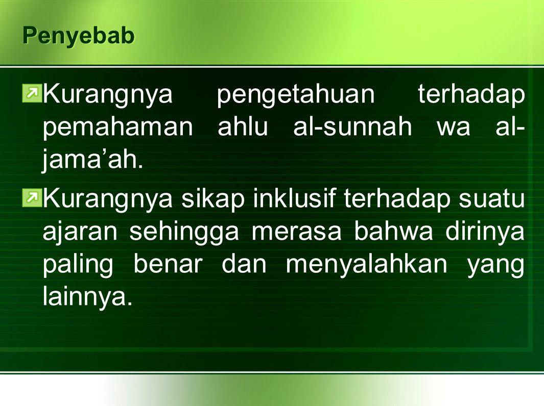 Kurangnya pengetahuan terhadap pemahaman ahlu al-sunnah wa al-jama'ah.
