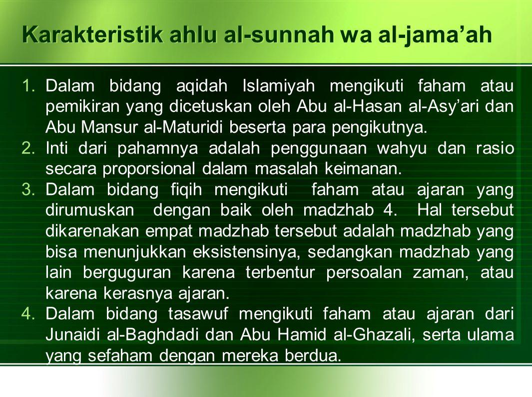 Karakteristik ahlu al-sunnah wa al-jama'ah